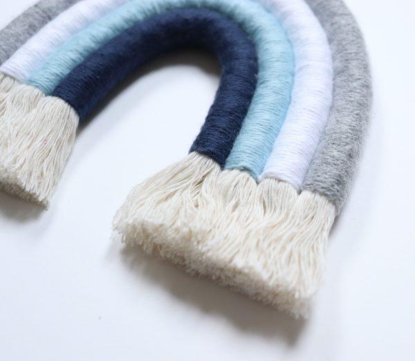 Rainbow Macrame Blue and Grey - tecza zblizenie