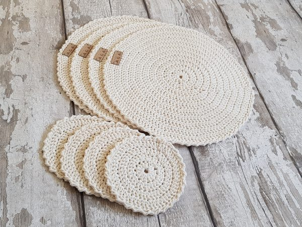 Crotchet Round Table Mats And Coasters - 20200606 142211 scaled