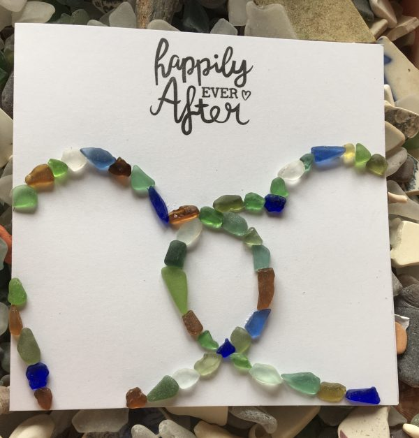 Happily Ever After Seaglass Wedding Card
