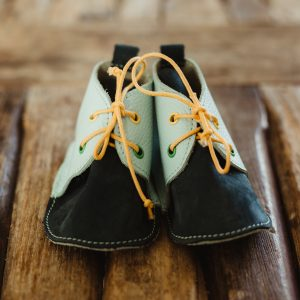 Black/Green Leather Baby Shoes with Laces