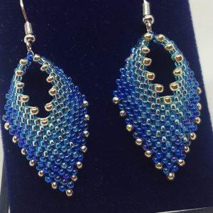 Ombre Blue Leaf Earrings