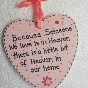 Pink Heart Memorial Plaque