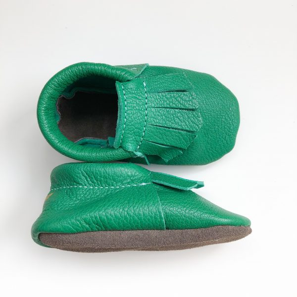 Leather Baby Moccasin Shoes with Fringe