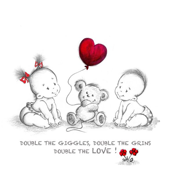 Double the Giggles Nursery Print - TWINS boy and girl scaled
