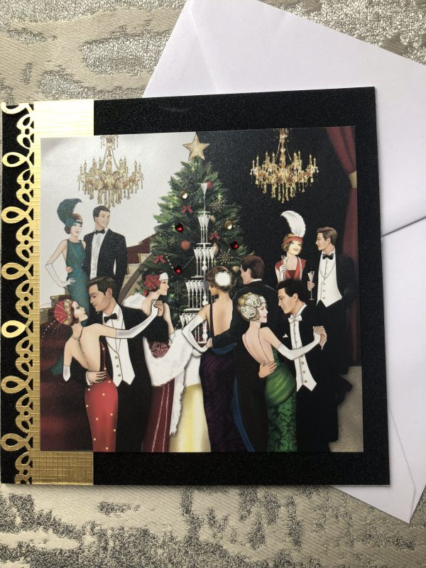 Art Deco Christmas party scene with black and gold trim