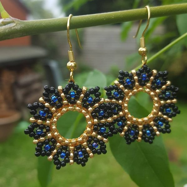 Black Blue & Gold Luna Earrings