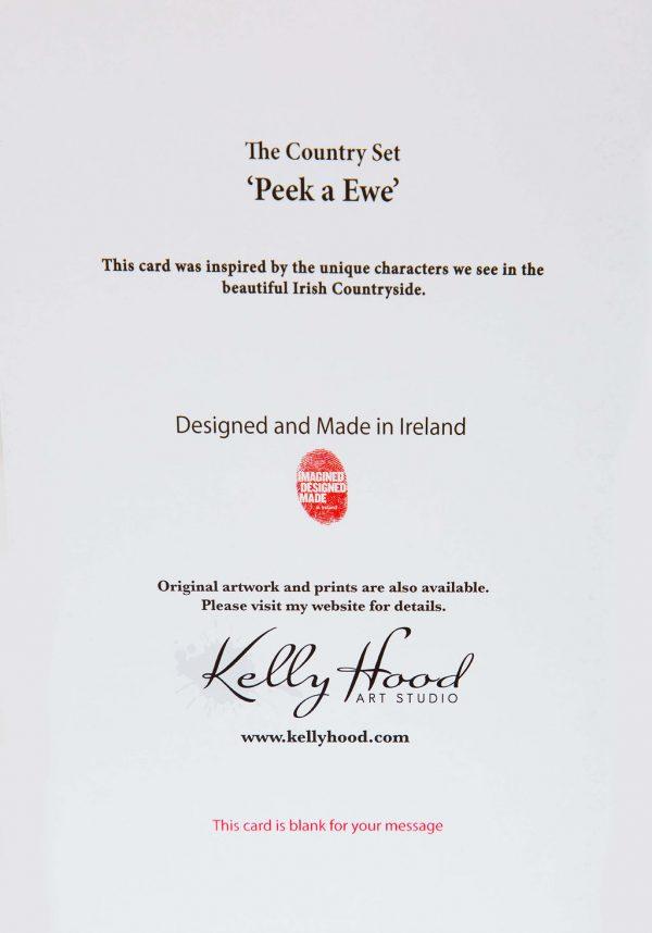 Peek A Ewe - Greeting Card - Kellyhood.com PEEK A EWE GREETING CARD BACK