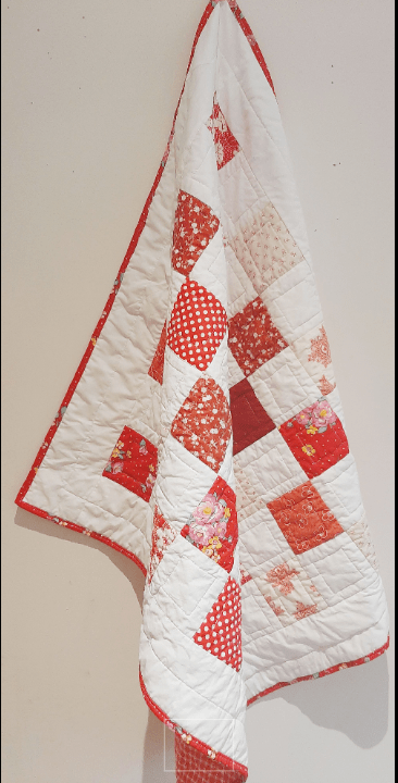 Red and White Baby Quilt - red and white 3