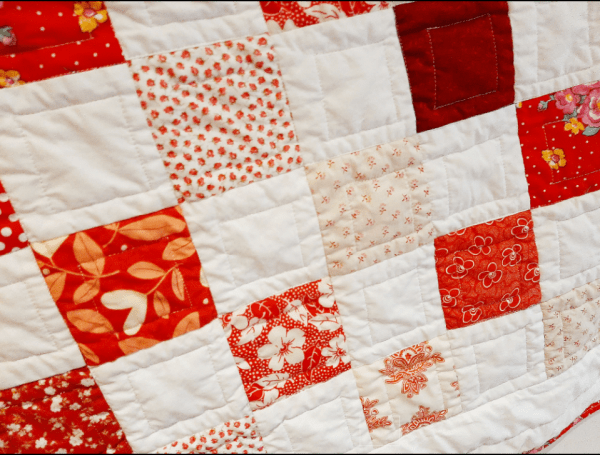 Red and White Baby Quilt - red and white 5