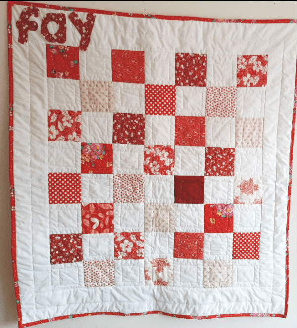 Red and White Baby Quilt - red and white 6
