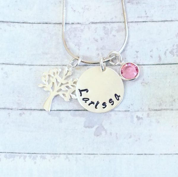 Silver Name Disc with Tree of Life and Birthstone - 03D7B825 F914 4F33 9BCB DB802F9F2326
