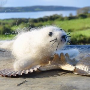 White Baby Seal, One-of-a-Kind Needlefelted Decoration