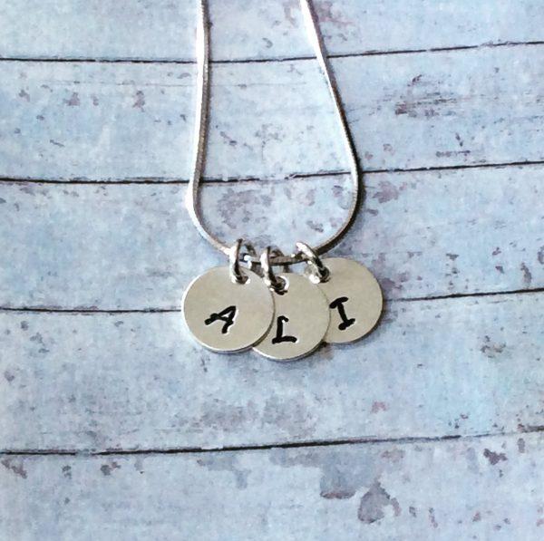 Dainty Tiny Silver Initials Necklace - 11E78E7F E4CF 4F10 AB03 3893474404FD