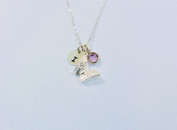 Butterfly Charm with Initial Disc and Birthstone - 1B14F677 1D4A 4A43 96FE EA0DD2330D3A