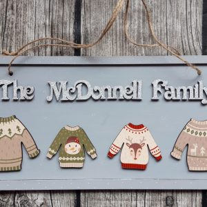 Family Christmas Jumper Plaque