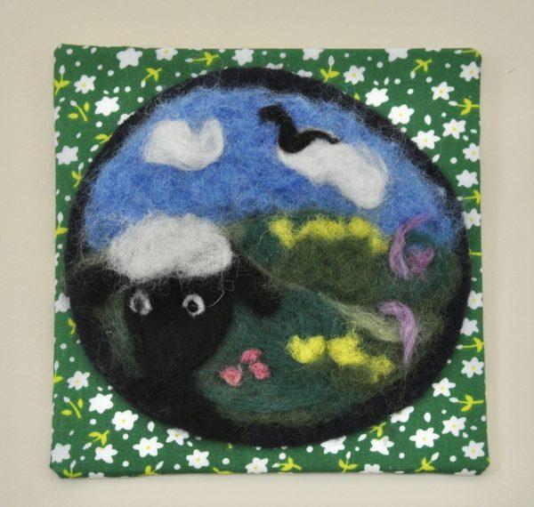 Sheep Selfie Needlefelted Art