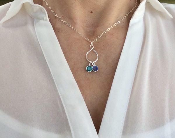 Silver Teardrop Infinity Birthstones Family Necklace - 3AFEA215 D3F2 4153 B195 0E08A233E81A