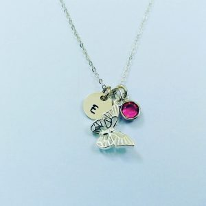 Butterfly Charm with Initial Disc and Birthstone
