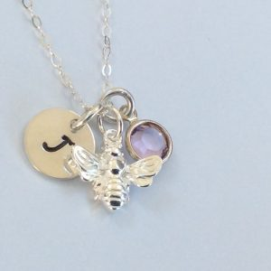 Silver Bumble Bee Personalised Necklace
