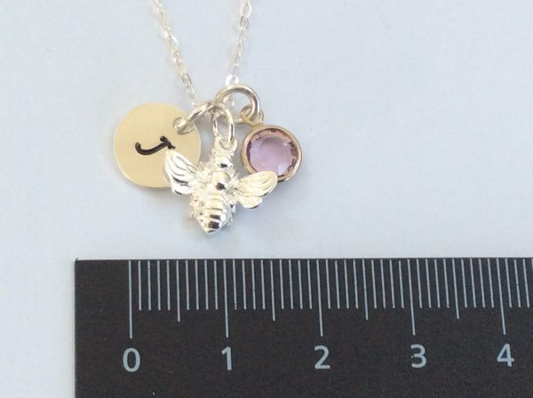 Silver Bumble Bee Personalised Necklace - 8E48180F 7288 4555 8374 8CC8D6050462 scaled