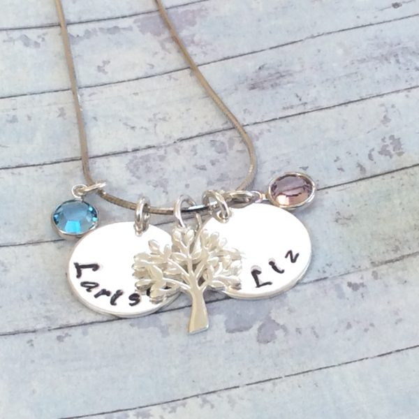 Silver Name Disc with Tree of Life and Birthstone - B7B95561 B045 4CB3 89F0 BCC487486A4A