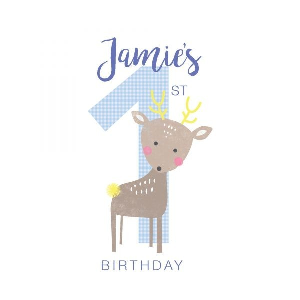 Personalised First Birthday Card - Custom First Bday Boy detail