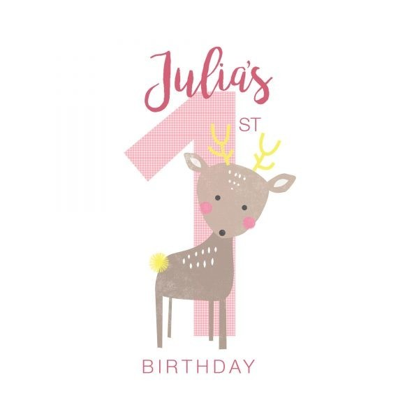 Personalised First Birthday Card - Custom First Bday Girl detail