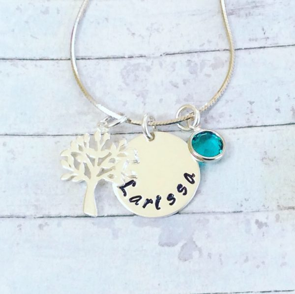 Silver Name Disc with Tree of Life and Birthstone