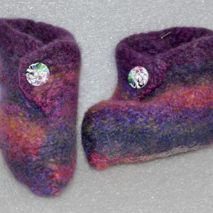 Kids' Felted Mauve Bootie/Slippers