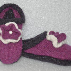 Kids Felted Fuchsia Slippers