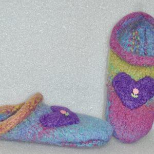 Kids Felted Heart Rainbow Slippers