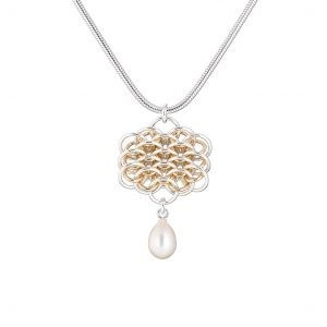 Handmade designer Sterling silver and gold chainmail and freshwater pearl necklace