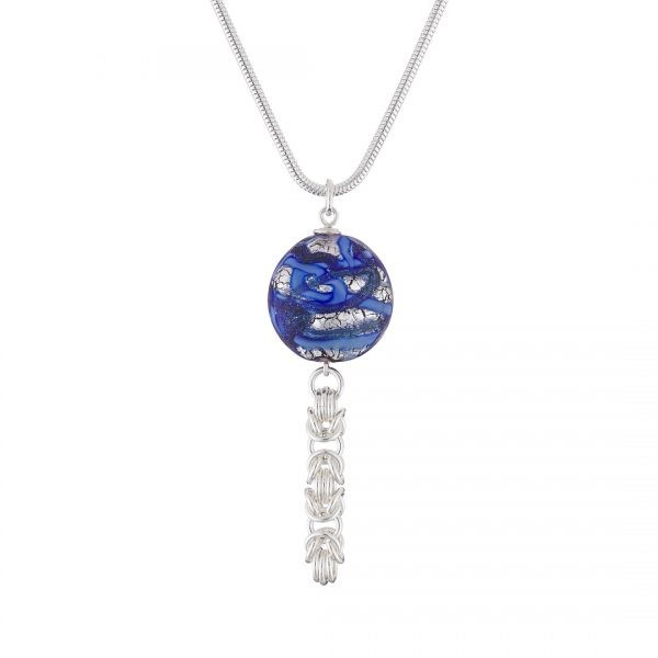 Handmade designer Sterling silver Byzantine chainmail and silver foil blue Murano glass necklace