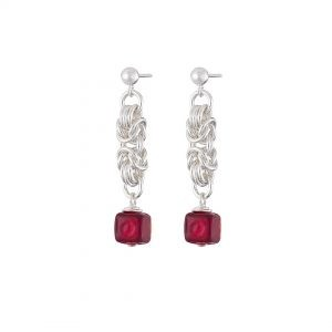 Handmade designer Sterling silver Byzantine chainmail and red Murano glass earrings