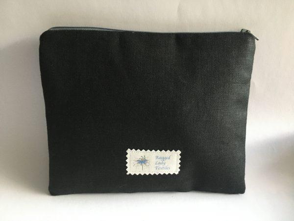 Black Irish Linen Zipped Pouch (blue lining) - 1F8826E9 7971 4BA6 9C92 0D4B6EB144EE