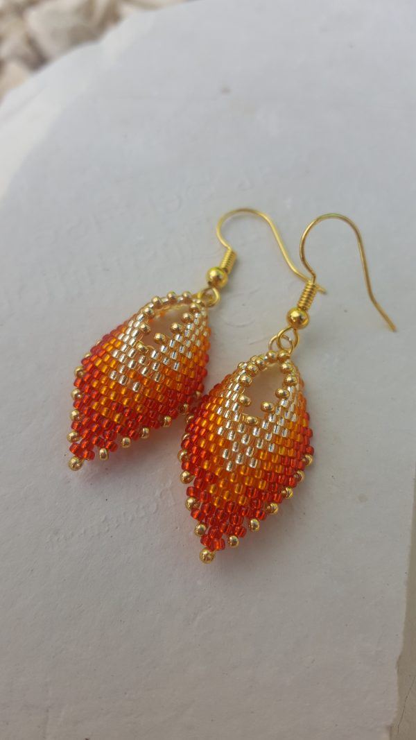 Ombre Autumnal Miniature Leaf Earrings - 20201012 145832 rotated
