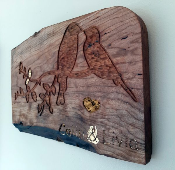 100% Irish Beech Wood personalized love birds hand crafted wall hanging plaque - 20201023 105727