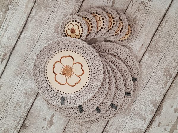 Set Of 12 Crotchet And Plywood Round Table Mats & Coasters - 20201025 160206