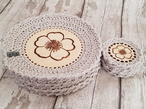 Set Of 12 Crotchet And Plywood Round Table Mats & Coasters - 20201025 160405