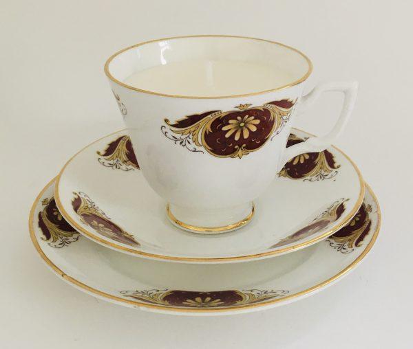 Teacup Candle - Wine and Gold Regina Fine Bone China - 34ED5AD9 A826 4E17 867D 8AB7CCF912AC