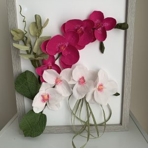 Flower Frame with Crepe Paper Orchids