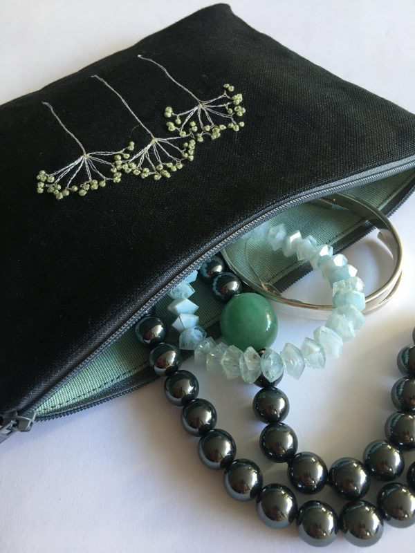 Black Zipped Linen Pouch (Mint Green)