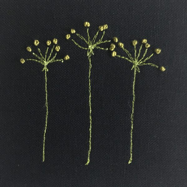 Flower Embroidery Wall Art (Black with Yellow)