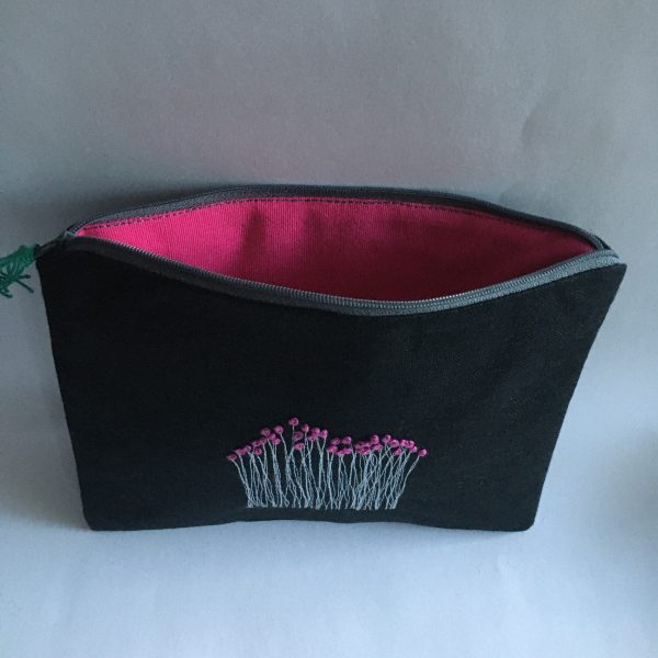 Zipped Black Linen Pouch (Pink Lining) - 44D1859F 34D3 4242 A8F9 11BACB28F5E8 rotated