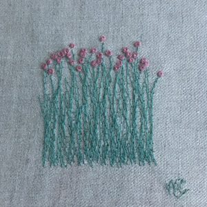 Flower Embroidery Wall Art (pale grey)