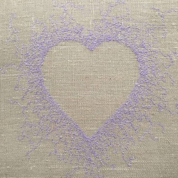 Heart Embroidered Linen Cushion