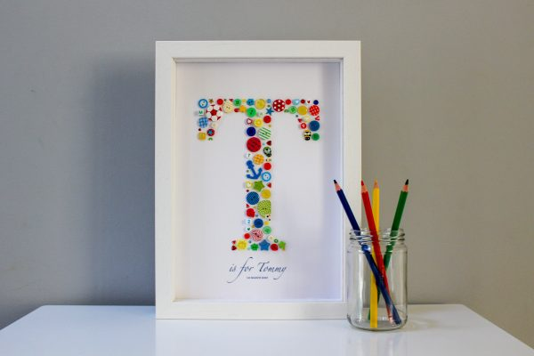 Large Bespoke Initial Frame in Primary Colours