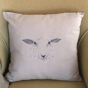 Embroidered Sheep Cushion - Pale Grey