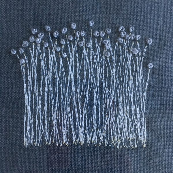 Flower Embroidery Wall Art (Navy Reeds)