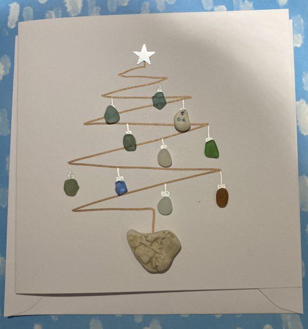 Seaglass Christmas Tree Card